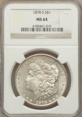 Morgan Dollars: , 1878-S $1 MS64 NGC. PCGS Population (14033/4579). Mintage: 9,774,000. Numismedia Wsl. Price for problem ...