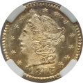 California Fractional Gold , 1873 25C Liberty Round 25 Cents, BG-817, R.3, MS66 NGC. NGC Census:(7/1). PCGS Population (5/0)....
