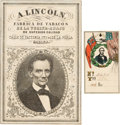 Miscellaneous:Ephemera, Abraham Lincoln: Tobacco Label and Textile Tag. ... (Total: 2Items)