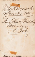 Miscellaneous:Ephemera, [Abraham Lincoln]: Book Signed by Lincoln's Host at Gettysburg. ...