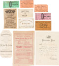 Miscellaneous:Ephemera, [Ford's Theatre]: Assorted Ephemera for Ford Theaters. ... (Total:11 Items)