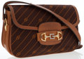 Luxury Accessories:Bags, Gucci Brown Canvas & Leather Shoulder Bag. ...