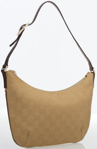 Gucci Gold Monogram Canvas Shoulder Bag