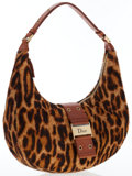 Luxury Accessories:Bags, Christian Dior Leopard Ponyhair & Brown Leather Hobo Bag. ...