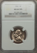 Jefferson Nickels, 1962 5C MS66 Five Full Steps NGC. PCGS Population (43/2). Numismedia Wsl. Price for problem free NGC/PC...