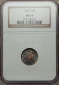 Barber Dimes: , 1906 10C MS64 NGC. NGC Census: (99/53). PCGS Population (98/52). Mintage: 19,958,406. Numismedia Wsl. Price for problem fre...
