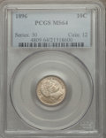 Barber Dimes, 1896 10C MS64 PCGS. PCGS Population (35/26). NGC Census: (28/26). Mintage: 2,000,762. Numismedia Wsl. Price for problem fre...