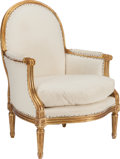 Furniture : French, A LOUIS XV-STYLE GILT WOOD BERGÈRE, 20th century. 40 x 29 x 21inches (101.6 x 73.7 x 53.3 cm). ...