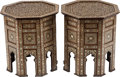 Furniture , A PAIR OF MOORISH INLAID MOTHER OF PEARL, EBONY AND BONE OCTAGONAL SIDE TABLES, late 20th century. 24 inches high x 22 inche... (Total: 2 Items)