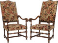 Furniture : French, A PAIR OF FRENCH PROVINCIAL NEEDLEPOINT UPHOLSTERED WALNUTARMCHAIRS, circa 1820. 48 x 24-1/4 x 33 inches (121.9 x 61.6 x83... (Total: 2 Items)