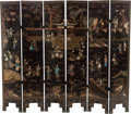 Asian:Chinese, A SIX PANEL CHINESE LACQUER, HARD STONE AND MOTHER-OF-PEARL SCREEN.49 x 57 x 0-3/4 inches (124.5 x 144.8 x 1.9 cm). Not...