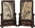 Asian:Chinese, A PAIR OF CHINESE MARBLE, MAHOGANY AND MOTHER-OF-PEARL FRAMED TABLESCREENS ON STANDS . 35 x 23 x 9-1/2 inches (88.9 x 58.4 ... (Total:2 Items)