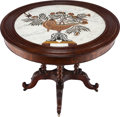 Furniture : French, A LOUIS PHILIPPE PIETRA DURA AND MAHOGANY TABLE, circa 1830. 30inches high x 39 inches diameter (76.2 x 99.1 cm). ...