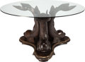 Furniture : Continental, A NEOCLASSICAL MAHOGANY AND GLASS TABLE, 20th century. 29 inches high x 53 inches diameter (73.7 x 134.6 cm). ... (Total: 2 Items)