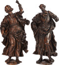 Decorative Arts, Continental:Other , A PAIR OF ITALIAN RENAISSANCE-STYLE CARVED WOOD FIGURES OF SAINTS,18th century. 44-1/2 inches high (113.0 cm). ... (Total: 2 Items)