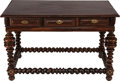 Furniture : Continental, A PORTUGUESE ROSEWOOD SALON TABLE WITH BRASS MOUNTS, 18th century. 35-1/4 x 54-1/2 x 31-1/2 inches (89.5 x 138.4 x 80.0 cm)...