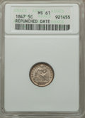 Seated Half Dimes, 1847 H10C Repunched Date MS61 ANACS. PCGS Population (2/126). Mintage: 1,274,000. Numismedia Wsl. Price ...
