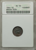 Seated Half Dimes, 1844 H10C AU50 ANACS. Breen-3034. PCGS Population (7/139). Mintage: 430,000. Numismedia Wsl. Price for p...