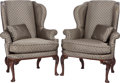 Furniture , A PAIR OF GEORGIAN-STYLE UPHOLSTERED MAHOGANY ARMCHAIRS, circa 1900. 43-1/2 x 34 x 30 inches (110.5 x 86.4 x 76.2 cm). ... (Total: 4 Items)
