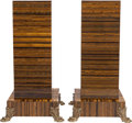 Decorative Arts, French:Other , A PAIR OF TIGER-EYE VENEERED PEDESTALS WITH GILT BRONZE MOUNTS,20th century. 38 x 20 x 20 inches (96.5 x 50.8 x 50.8 cm). ...(Total: 2 Items)