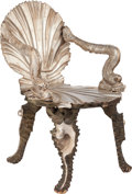 Furniture : Continental, AN ITALIAN SILVERED WOOD GROTTO ARMCHAIR, circa 1900. 34-1/2 x 21 x19 inches (87.6 x 53.3 x 48.3 cm). ...