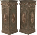 Decorative Arts, Continental:Other , A PAIR OF GEORGIAN-STYLE PAINTED AND SILVERED PEDESTALS, late 20thcentury. 42 x 17 x 17 inches (106.7 x 43.2 x 43.2 cm). ... (Total:2 Items)