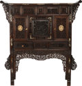 Asian:Chinese, A CHINESE ROSEWOOD, BONE AND MOTHER-OF-PEARL CABINET, circa 1850.50 x 47 x 15-1/4 inches (127 x 119.4 x 38.7 cm). ...
