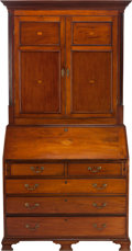 Furniture , AN GEORGIAN OAK AND MARQUETRY SLANT FRONT SECRETARY BOOKCASE, circa 1780. 88 x 44 x 21 inches (223.5 x 111.8 x 53.3 cm). ... (Total: 2 Items)