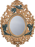 Decorative Arts, Continental:Other , A ROCOCO-STYLE GILT AND PAINTED WOOD MIRROR, 20th century. 47inches high (119.4 cm). ...