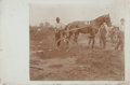 Photography:Cabinet Photos, [African-Americana]. [Harness Racing]. Late-Nineteenth CenturyPhotograph Depicting Three Men and Harness Racing Horse with Su...