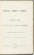 Books:Literature Pre-1900, Harriet Beecher Stowe. Uncle Tom's Cabin; Or, Negro Life in the Slave States of America. Reprinted verbatim fr...