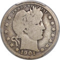 Barber Quarters, 1901-S 25C Good 6 PCGS. CAC....