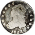 Bust Quarters: , 1823/2 25C Good 4 PCGS. B-1, R.6. Only a single die pairing isknown of this rare issue. Often compared to the 1802 half di...