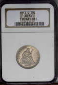 Seated Quarters: , 1843-O 25C AU55 NGC. Except for a few incomplete radials on thestars, the strike is bold and the surfaces minimally marked...