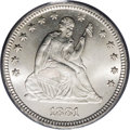 Seated Quarters: , 1881 25C MS65 PCGS. Untoned with supremely frosty devices anddynamic satiny luster that lacks the prooflike qualities ofte...