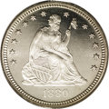 Proof Seated Quarters: , 1880 25C PR65 Cameo PCGS. Type Two Reverse. A blazing, snow-whiteappearance is presented in conjunction with a sharp strik...