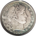 Barber Quarters: , 1892 25C MS67 PCGS. Type Two Reverse. Rich copper-gray andcobalt-blue colors compete for dominance on both sides with some...