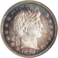 Proof Barber Quarters: , 1893 25C PR68 ★ Cameo NGC. Cobalt-blue, tawny-gold, and plum colors hug the borders but the c...