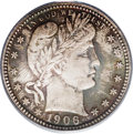 Proof Barber Quarters: , 1906 25C PR66 PCGS. Subtly reflective and rather deeply toned in splashes of olive and coppery-gold. Just 675 proof quarter...