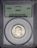 Washington Quarters: , 1934 25C Medium Motto MS67 PCGS. This older holder Superb Gempossesses blazing luster, and only the final letters in AMERI...