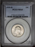 Washington Quarters: , 1935-D 25C MS65 PCGS. A satiny-white Gem that features radiantluster and nearly mark-free surfaces. One of the more challe...