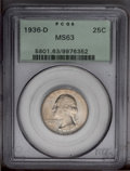 Washington Quarters: , 1936-D 25C MS63 PCGS. Well defined with glistening luster and atouch of golden patina. Small contact marks in the left obv...