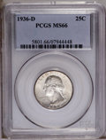 Washington Quarters: , 1936-D 25C MS66 PCGS. An average strike with a touch of goldentoning. The surfaces display a few minor abrasions to the we...