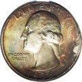 Washington Quarters: , 1936-D 25C MS66 PCGS. Lustrous surfaces are bathed in varyingshades of golden-brown, crimson, forest-green, and lavender o...