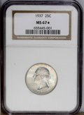 Washington Quarters: , 1937 25C MS67 ★ NGC. This remarkable Superb Gem displays lovelypastel lime-gold, peach, and ...