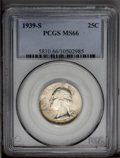 Washington Quarters: , 1939-S 25C MS66 PCGS. Extremely lustrous with an arc ofmulticolored toning across the lower portion of the obverse....