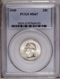 Washington Quarters: , 1949 25C MS67 PCGS. Adequately struck for the issue with gleamingluster and a trace of golden toning over surfaces free of...