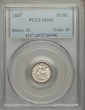 Seated Half Dimes: , 1847 H10C MS65 PCGS. PCGS Population (19/19). Mintage: 1,274,000. Numismedia Wsl. Price for problem free...