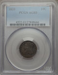 Bust Dimes: , 1833 10C AG3 PCGS. PCGS Population (3/452). NGC Census: (0/304).Mintage: 485,000. Numismedia Wsl. Price for problem free N...