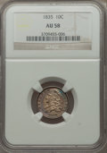 Bust Dimes: , 1835 10C AU58 NGC. NGC Census: (70/247). PCGS Population (53/189).Mintage: 1,410,000. Numismedia Wsl. Price for problem fr...
